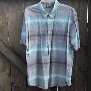 Vans Short Sleeve Shirt XL Cotton Gray Blue Blend